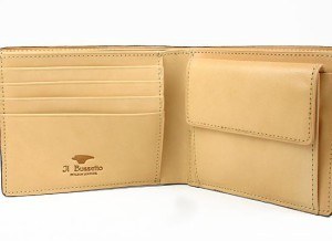 送料無料 イルブセット 牛革ハンドメイド二つ折り財布/茶