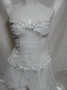65セクシーコスチューム 白色 シースルー ボンテージ コスプレ 衣装 44-0682-520 ┃
