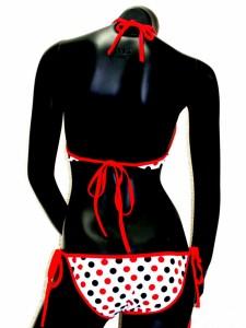 水着 三角 ビキニ 白ベースに黒色&赤色水色ドット パッド付 sw32022  ┃
