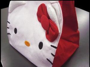 和×キティちゃんコラボ ちりめんミニトートバッグ赤