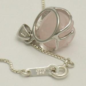 ローズクォーツの薔薇・小 シルバーペンダントトップ(チェーンなし) パワーストーン 天然石 レディースアクセサリー ピンク