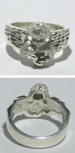 鳩を抱く天使シルバーリング 7〜23号【送料無料】指輪/メンズ/レディース/シルバー925/大きいサイズ