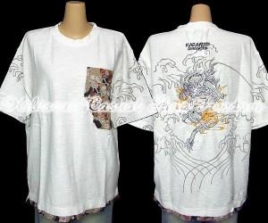 sale KARAKURI カラクリ 絡繰 三連ポケット龍刺繍半袖Tシャツ XLサイズ