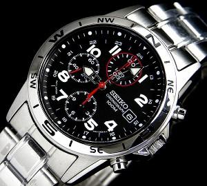 送料無料 SEIKO/即納!腕時計セイコークロノグラフ ブラックSND375P