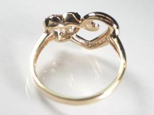 ダブルハートK18金ピンクゴールドダイヤリング