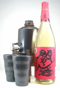 送料無料★焼酎サーバー豪華セット  (老松酒造 三年長期熟成麦焼酎 閻魔 1800ml)