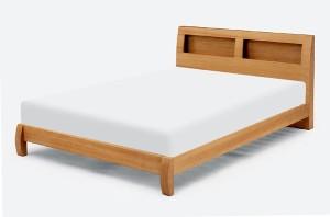 《お得なマットレス付き!》【シングルサイズ】タモ突板使用!宮付きシングルベッド+マットレスセットスノコベットナチュラル