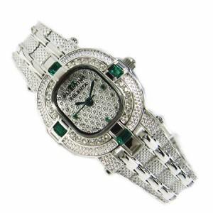 ヴァレンチノ ロレンタ 天然エメラルド使用 小さめCZライン腕時計 VR110EL 鑑別書付き 送料無料