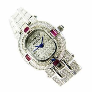 ヴァレンチノロレンタ天然ルビー使用小さめCZライン腕時計VR110RL鑑別書付き 送料無料