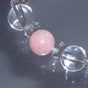 【10月の誕生石】 水晶(クリスタル)・ピンクオパール・カット水晶 ブレスレット 8.2mm (メンズM、レディースLサイズ)/天然石