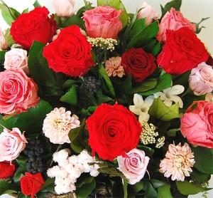 【送料無料】プリザーブドフラワー 開業祝い 結婚式 還暦 お祝い ギフト 誕生日 母 女性  かごいっぱいのバラのお祝いm_pr