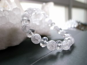 幸運の石クラック水晶&本水晶ブレス8mm