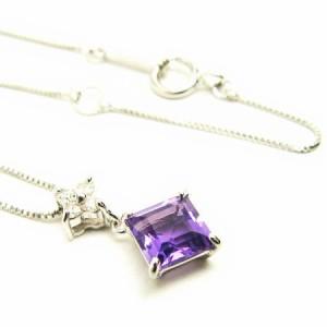 ホワイトゴールド*WG2月誕生石アメジスト×天然ダイヤモンドひし形 ネックレス レディース 送料無料