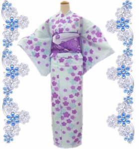 レース浴衣&兵児帯2点セット薄水色地桜