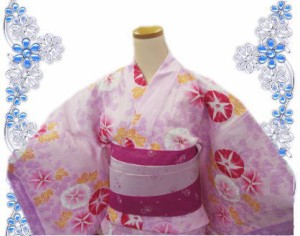 レース浴衣&兵児帯2点セット薄ピンク地朝顔2