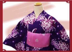 キュート&艶やか♪ブランド浴衣&帯セット★JAM紫地乱菊