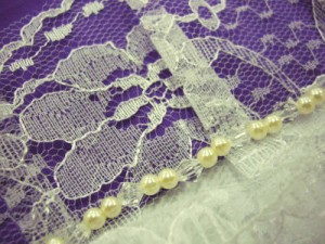 振袖成人式&浴衣に 幅広レース&ビーズ重ね衿伊達襟紫