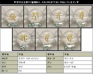 梵字水晶8mm玉(金字)・ブルータイガーアイブレスレット (レディースSサイズ)