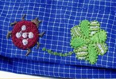 【きゃんナナ】クローバー刺繍入りレインコート Mサイズ * ブルーのみ