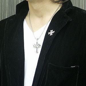 [あす着]メンズ ネックレス メンズネックレス・ストーン入りゴシッククロス&ファントム M-779