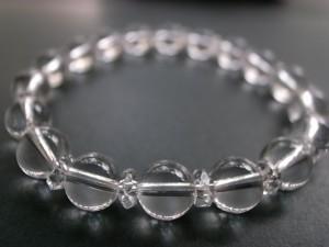 【送料無料】最高級天然本水晶&20面カット水晶ブレス8mm