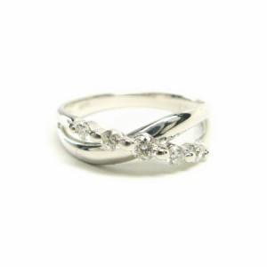 K18WG*ホワイトゴールド天然ダイヤモンド0.2ct5ピースウェーブクロスリング 送料無料 クリスマス ギフト