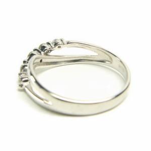 K18WG*ホワイトゴールド天然ダイヤモンド0.2ct5ピースウェーブクロスリング 送料無料