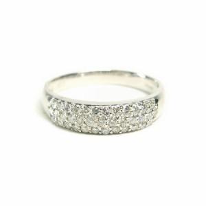 K18WG*ホワイトゴールド天然ダイヤモンド0.3ctパヴェダイヤリング 送料無料