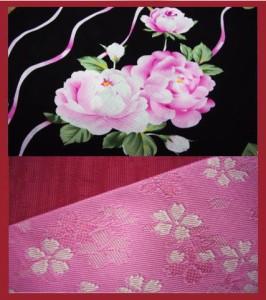 キュート&艶やか♪ブランド浴衣&帯セット★黒地ピンク薔薇