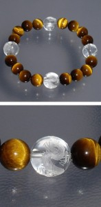 ◆風水・四神獣手彫り水晶10mm玉◆ タイガーアイブレスレット (レディースSサイズ)