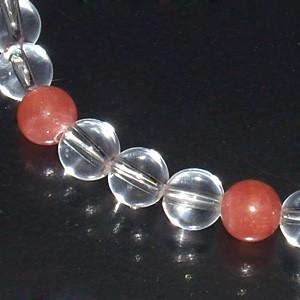 インカローズ・水晶(クリスタル)ブレスレット 6.2mm (レディースSサイズ) /魅力を引き出す 天然石・パワーストーン ロードクロサイト
