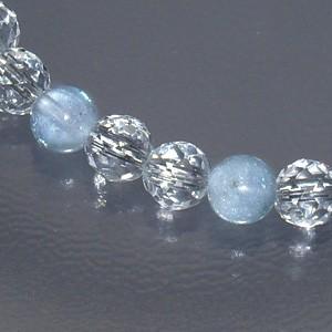 AAAアクアマリン・カット水晶 パワーストーンブレスレット 6.3mm(メンズM 、レディースLサイズ)天然石/3月/誕生石
