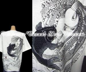 sale KARAKURI-TAMASHII 絡繰魂  熨斗に跳鯉刺しゅう半袖Tシャツ  Lサイズ