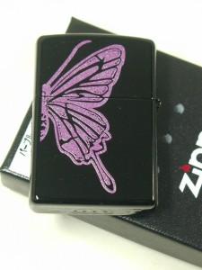 ジッポーZippoパープルバタフライ蝶チョウ両面A