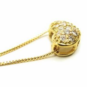 K18*ゴールド天然ダイヤモンド0.13ctぷっくりハートパヴェダイヤ ネックレス レディース 送料無料