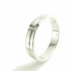 刻印対象商品 天然ダイヤモンド1ピースラインシルバーリング(プラチナコーティング) 送料無料 クリスマス ギフト