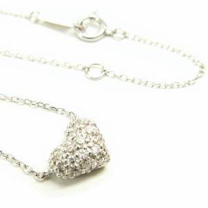 K18WG*ホワイトゴールド天然ダイヤモンド0.2ctぷっくりハートパヴェダイヤ ネックレス レディース 送料無料
