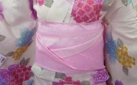 浴衣ゆかたに♪簡単ふわっふわ兵児帯薄ピンク地薔薇リボンハート
