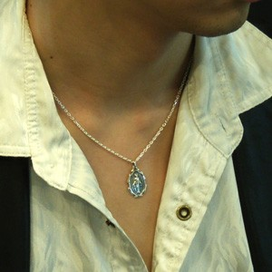 マリア像メダイのシルバーペンダントトップ(チェーンなし)ネックレス メンズ シルバー 925