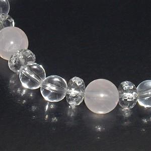 ローズクォーツ カット水晶 水晶ブレスレット/天然石/パワーストーン/ブレスレット/レディース/恋愛/ブレス/かわいい