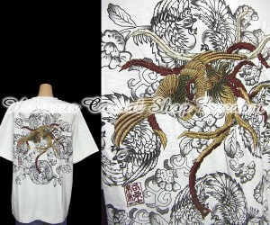 sale KARAKURI-TAMASHII 絡繰魂 唐草鳳凰刺しゅう半袖Tシャツ Lサイズ