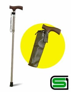 SGマーク付!折り畳みステッキ杖 81〜91cm 伸縮5段階調節機能 超軽量 約350g アルミ製