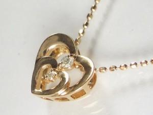 ダブルハートの18金ピンクゴールドネックレス