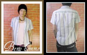 【Beno homme】ストライプシャツ+タンク【sps-8274】