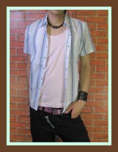 【在庫一掃セール】【Beno homme】ストライプシャツ+タンク【sps-8274】