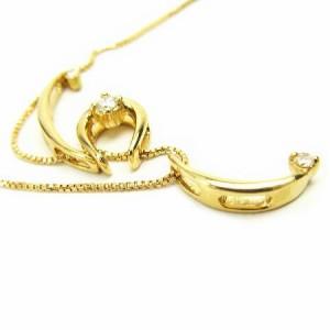 K18*ゴールド天然ダイヤモンド取り外しOKトリプルチャームダイヤ ネックレス レディース 送料無料