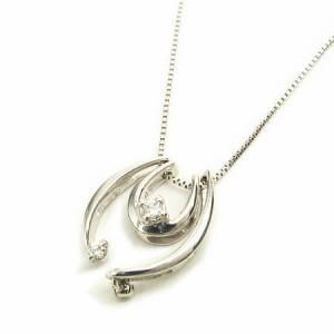 K18WG*ホワイトゴールド天然ダイヤモンド取り外しOKトリプルチャームダイヤ ネックレス レディース 送料無料