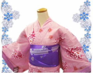 レース浴衣&兵児帯2点セットピンク地菊桜
