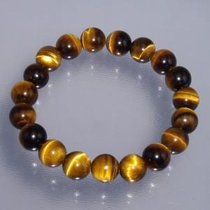 10mm 18cm 黄トラ目石(タイガーアイ)ブレスレット (メンズM、レディースLサイズ)