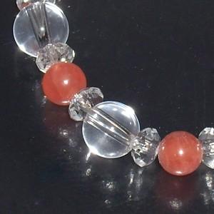 6.2mm 16cm アルゼンチン産インカローズ・カット水晶・水晶ブレスレット (レディースSサイズ) 天然石・パワーストーン ロードクロサイト